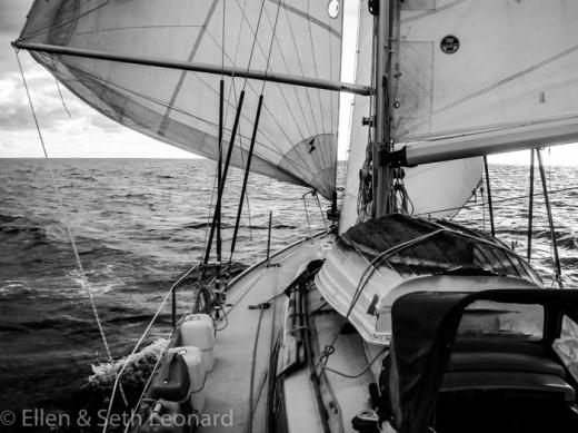 Wing 'n' wing aboard Heretic, Pacific Ocean