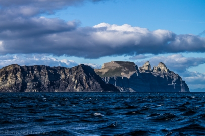 Passing Castle Cape in strong winds, before nosing into the terrifying williwaw cove.