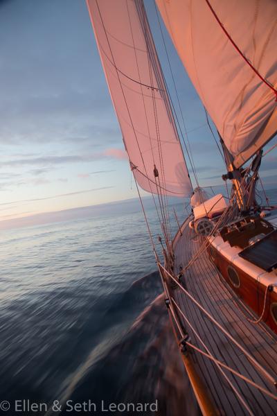 Beautiful sunset sailing