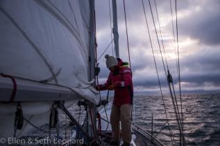 Seth raising sail off Pt Barrow