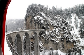 Landwasser Viaduct, train to Engadin