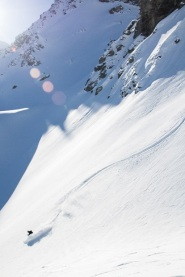 Seth tele-skiing on a tour in Engadin