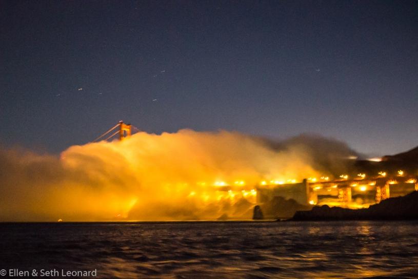 Golden Gate Bridge at night in fog