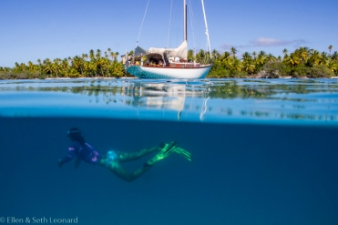 Ellen swims under Celeste