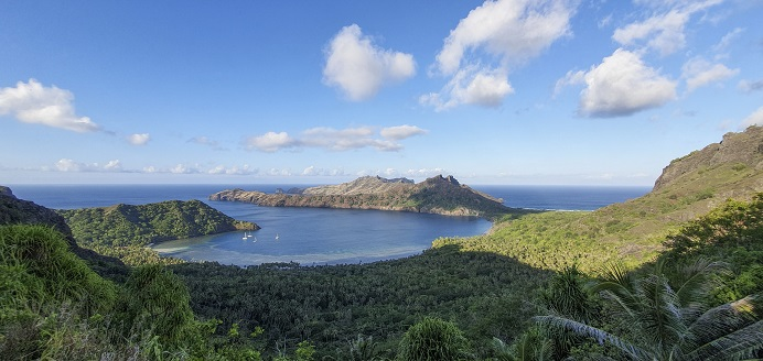 Remote Marquesan anchorage, accessible only by boat or by foot